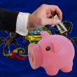 Dollar into piggy rich bank and  flag of american state of penns - Stockfoto