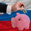 Dollar into piggy rich bank and  national flag of slovenia - 图库照片
