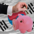 Dollar into piggy rich bank and  national flag of south korea - Foto de Stock