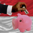 Dollar into piggy rich bank and  national flag of singapore - Stock Photo