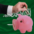 Dollar into piggy rich bank and  national flag of  of saudi arab - Foto de Stock