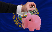 Dollar into piggy rich bank and flag of american state of new h — Stock Photo