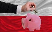 Dolar w piggy bank bogaty i flagi narodowej w polsce — Zdjęcie stockowe