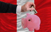 Dollar into piggy rich bank and national flag of peru — Stock Photo