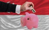 Dollar in piggy rijke bank en de nationale vlag van singapore — Stockfoto