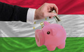 Dollar into piggy rich bank and national flag of tajikistan — Stock Photo