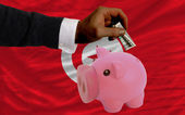 Dollar into piggy rich bank and national flag of tunisia — Stock Photo
