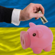 Dollar into piggy rich bank and  national flag of ukraine - Foto Stock