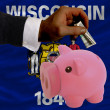 Dollar into piggy rich bank and  flag of american state of wisco - Stockfoto