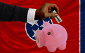 Dollar into piggy rich bank and flag of american state of tenne — Stock Photo