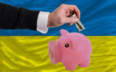 Dollar into piggy rich bank and national flag of ukraine — Stock Photo