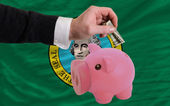 Dollar dans la tirelire riche et du drapeau de l'état américain du washi — Photo