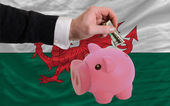Dollar into piggy rich bank and national flag of wales — 图库照片