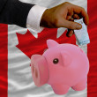 Funding euro into piggy rich bank national flag of canada — Stock Photo
