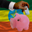 Funding euro into piggy rich bank national flag of ethiopia - Стоковая фотография
