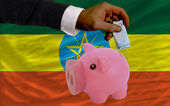 Funding euro into piggy rich bank national flag of ethiopia — Стоковое фото