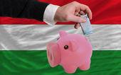 Finansowanie euro bogaty piggy bank flagi narodowej węgier — Zdjęcie stockowe