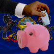 Funding euro into piggy rich bank flag of american state of penn - Stok fotoraf