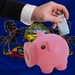 Funding euro into piggy rich bank flag of american state of penn - Foto Stock