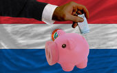 Funding euro into piggy rich bank national flag of paraguay — ストック写真