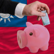 Funding euro into piggy rich bank national flag of taiwan - Stock Photo