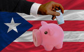 Finansiering euro i piggy rika bank nationella flagga puertorico — Stockfoto