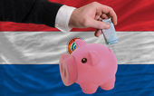 Funding euro into piggy rich bank national flag of paraguay — Stock Photo