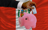 Funding euro into piggy rich bank national flag of peru — Stock Photo