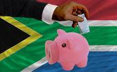финансирование евро в богатые свинка банка национальный флаг южной африки — Стоковое фото