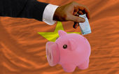 Funding euro into piggy rich bank national flag of vietnam — Стоковое фото