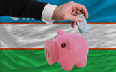 Funding euro into piggy rich bank national flag of uzbekistan — Stock Photo