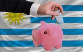 Finansowania euro w bogaty piggy bank narodowy flaga urugwaju — Zdjęcie stockowe