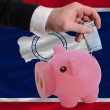 Funding euro into piggy rich bank flag of american state of wyom - Stock Photo