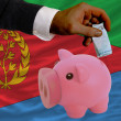 Stock Photo: Funding euro into piggy rich bank national flag of of eritrea