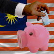 Funding euro into piggy rich bank national flag of malaysia — Stock Photo