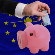 Funding euro into piggy rich bank flag of american state of indi — Stockfoto