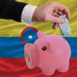 Funding euro into piggy rich bank national flag of columbia - Foto de Stock