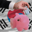 Funding euro into piggy rich bank national flag of south korea - Stock Photo