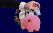 Funding euro into piggy rich bank flag of american state of kent — Stock Photo