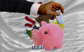 Funding euro into piggy rich bank flag of american state of illi — Стоковое фото