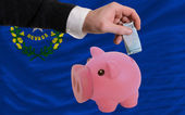 Funding euro into piggy rich bank flag of american state of neva — Stock Photo