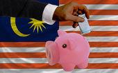 Financiering van euro naar piggy rijke bank nationale vlag van maleisië — Stockfoto