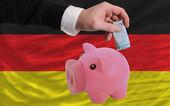 финансирование евро в богатые свинка банка национальный флаг германии — Стоковое фото