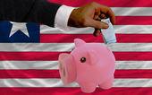 Financement euro en rich piggy bank du drapeau national du libéria — Photo