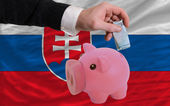 Funding euro into piggy rich bank national flag of slovakia — Stock Photo