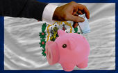 Funding euro into piggy rich bank flag of american state of west — Stock Photo