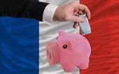 финансирование евро в богатые свинка банка национальный флаг франции — Стоковое фото