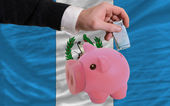Funding euro into piggy rich bank national flag of guatemala — Stock Photo