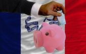 Financement euro en rich piggy bank le drapeau de l'état américain de l'iowa — Photo