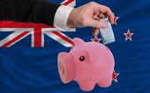 ニュージーランドの国旗を銀行貯金箱のリッチ ユーロの資金 — ストック写真